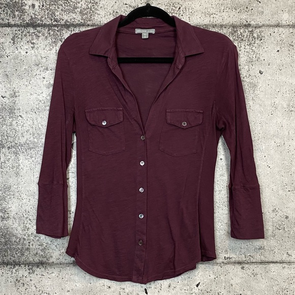 James Perse Tops - James Perse / Button Down Shirt with Ribbed Panels
